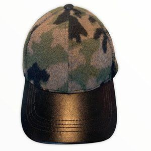 Black faux leather fuzzy army print adjustable hat